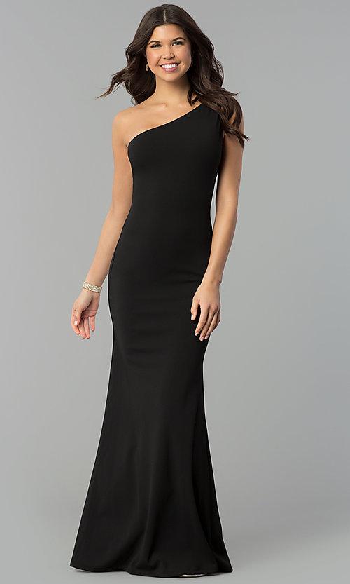 Black One-Shoulder Long Prom Dress with Mermaid Ski