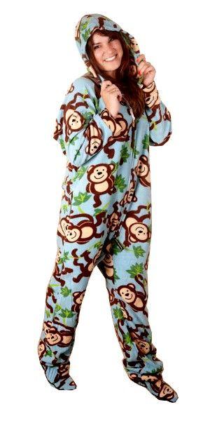 Monkeys Deluxe Adult Onesies, Footed Pajamas, Onesie Footie PJs .