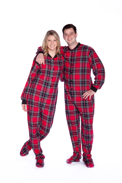 Flannel Adult Footed Pajamas in Red and Black Plaid Onesie for Men .