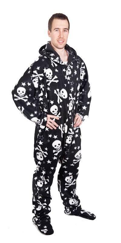 Footed Skulls Deluxe Adult Onesies, Footie Pajamas, Onesie PJs .