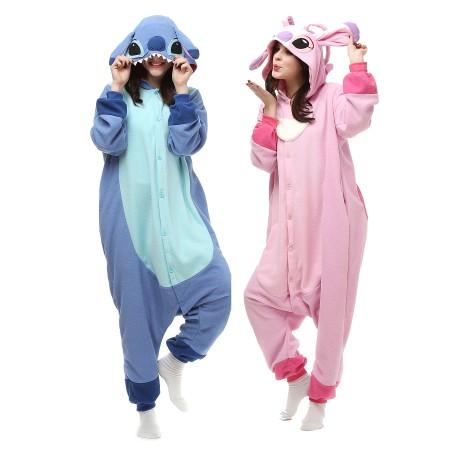 Stitch And Angel Kigurumi Onesie Pajamas Animal Costumes For Adult .