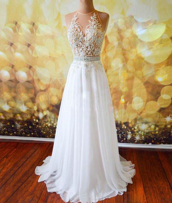 White Chiffon Tulle Appliques Lace Sweep Train Sexy Open Back Prom .