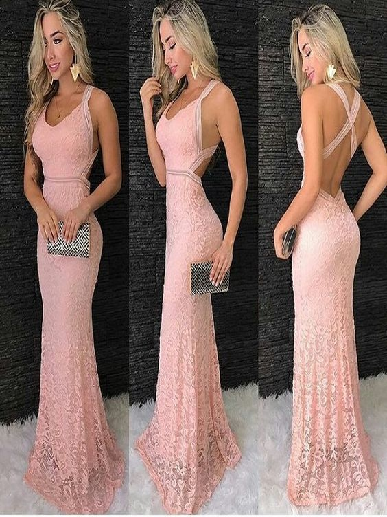 Pink Lace Prom Dresses, Open Back Prom Dress by RosyProm on Zibb