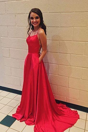 A Line Red Spaghetti Straps Open Back Prom by fancygirldress on Zibb
