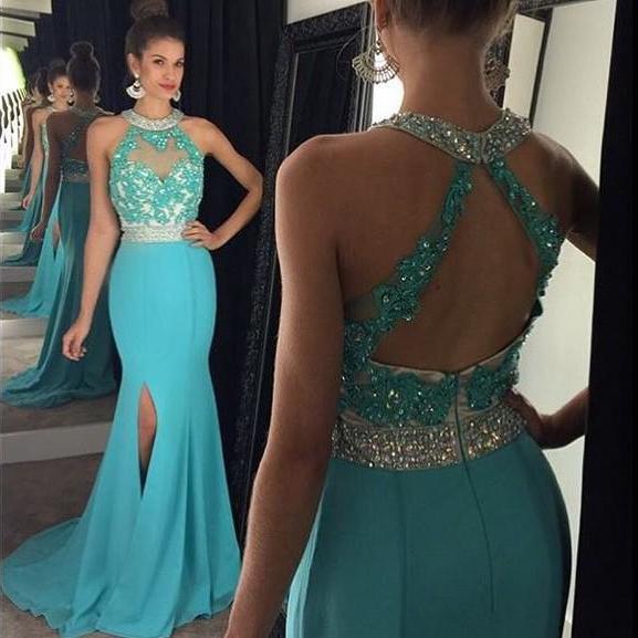 Open Back Prom Dresses, Beaded Halter Prom Dress With Front Split .