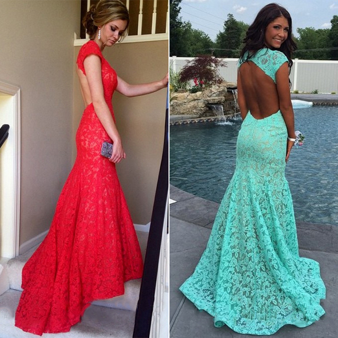 Hot Red Lace Prom Dress, Mermaid Open Back Prom Dresses, Latest .