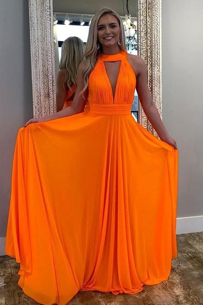 Pleated Halter Orange Prom Dresses Long Chiffon Skirt – loveangeldre