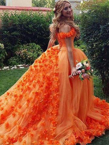 Chic A-line Off-the-Shoulder Orange Prom Dresses Tulle Long Prom .