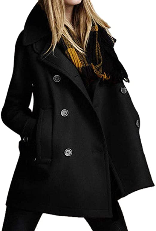 Pea Coat for Women Laimeng_World Women Solid Long Coat Parkas for .