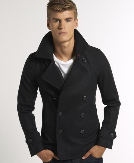 Superdry Commodity Slim Pea Coat   Peacoat men, Mens coats casual .