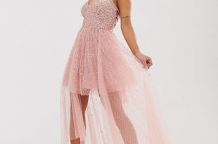 Dolly & Delicious Petite cowl front embellished mini prom dress .