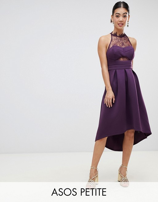 ASOS PETITE Halter Lace Top Dip Back Prom Dress | AS