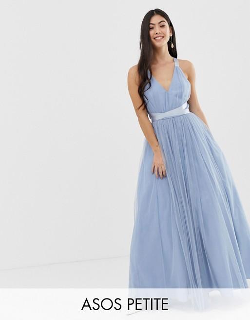 ASOS PREMIUM Petite Premium Tulle Maxi Prom Dress With Ribbon Ties .