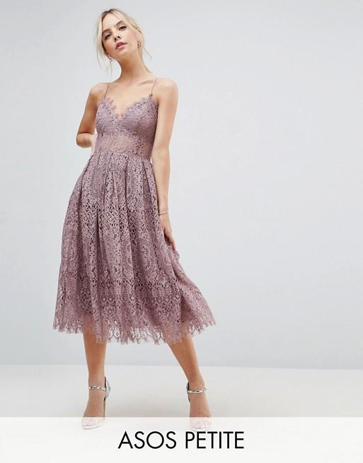 ASOS PETITE Lace Cami Midi Prom Dress | AS