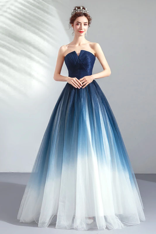 Strapless Ombre A Line Tulle Prom Dress Long Formal Dresses OKQ74 .