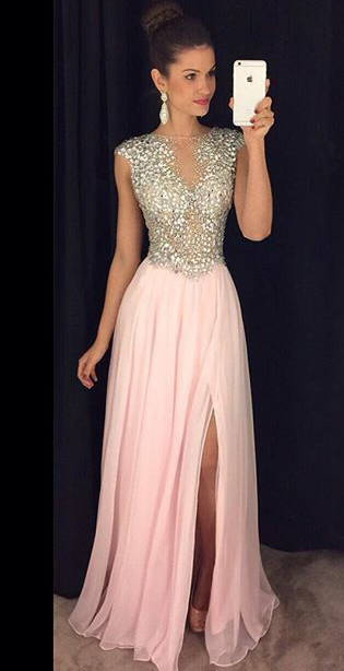 Sparkly A-line Pink Prom Dresses With Side Slit,Prom Dress,Long .