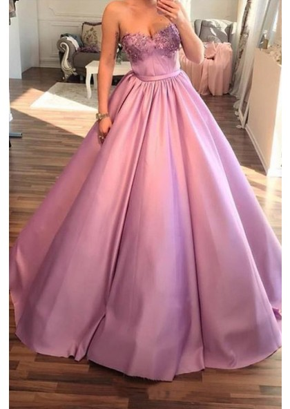 2020 Elegant Ball Gown Sweetheart Satin Pink Prom Dress