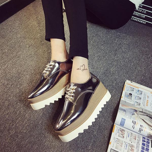 New Women Shiny Lace Up Flats Double Platform Oxfords Fashion .