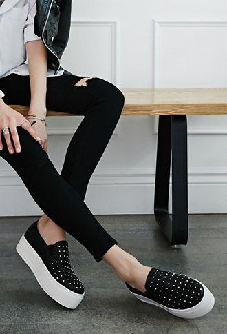 studded flatform slip ons   Summer shoes trends, Trending shoes .