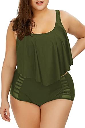 Amazon.com: Kisscynest Women's Plus Size Swimwear 2 Piece High .