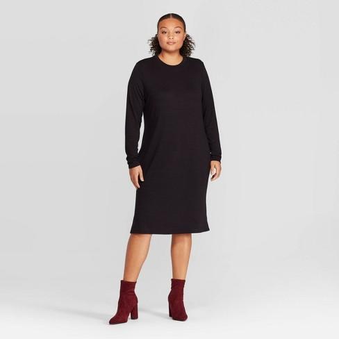 Women's Plus Size Long Sleeve Crewneck Essential Knit Midi Dress .
