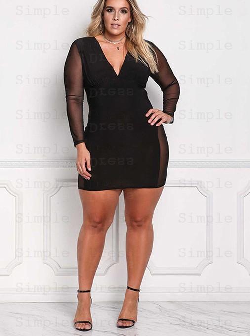 Deep V-Neck Long Sleeves Bodycon Plus Size Black Dress - Plus Size .
