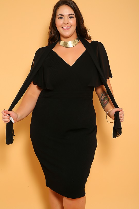 Sexy Black Short Sleeves Knee Length Plus Size Party Dre