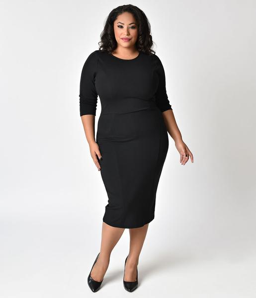 Unique Vintage Plus Size 1960s Style Black Long Sleeve Mod Wiggle Dr