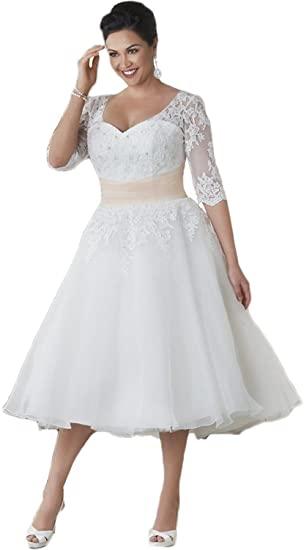 Lorderqueen Women's Half Sleeve Short Lace Wedding Dresses Plus .