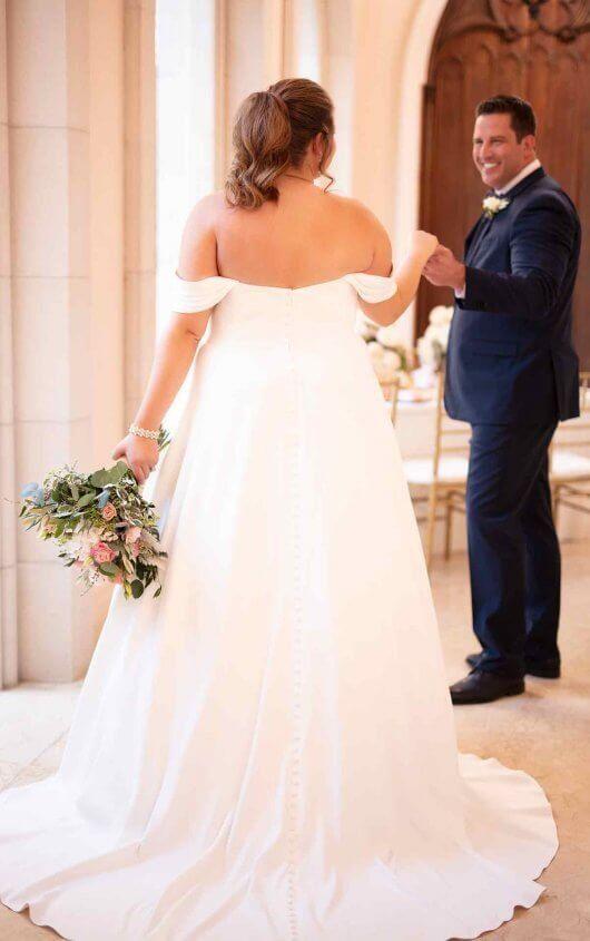 Simple Satin Plus Size Wedding Dress | Stella york wedding gowns .