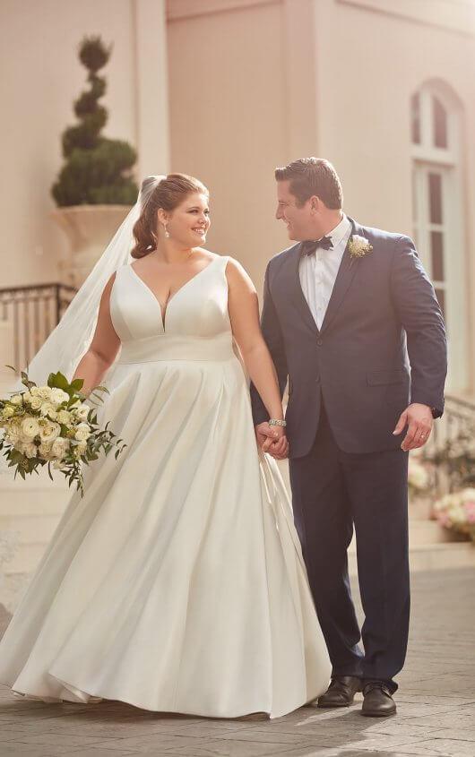 Royal-Inspired Simple Plus-Size Wedding Dress - Stella York .