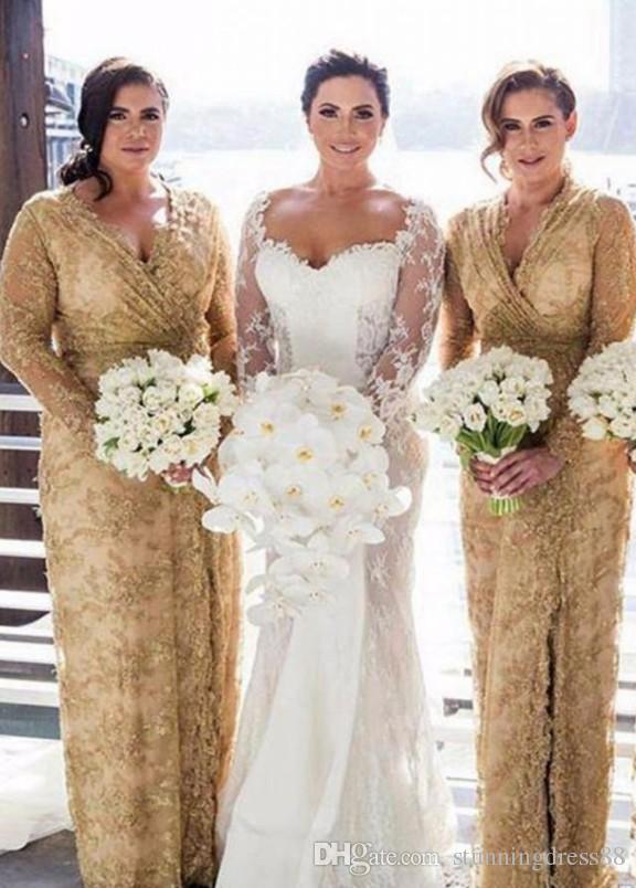 Modest Gold Lace Plus Size Bridesmaid Dresses With Long Illusion .