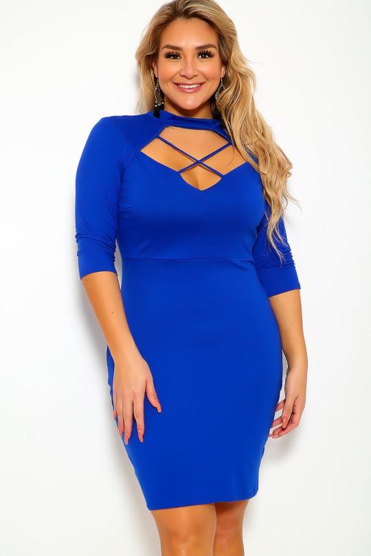 Royal Blue Plus Size Club Dre
