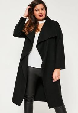 Plus Size Black Waterfall Oversized Duster Coat   Plus size, Plus .