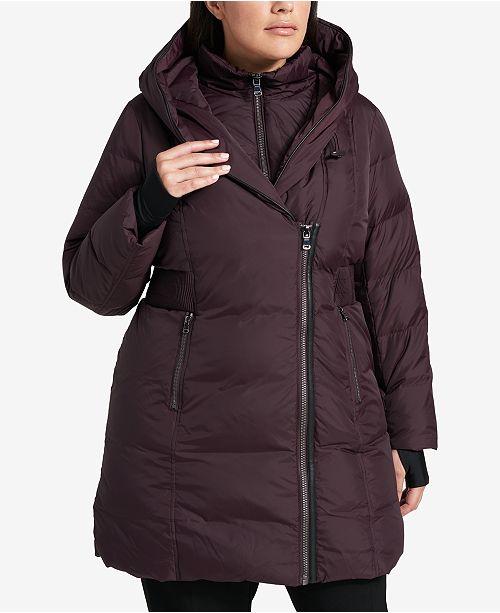 DKNY Plus Size Asymmetrical Faux-Leather-Trim Puffer Coat .