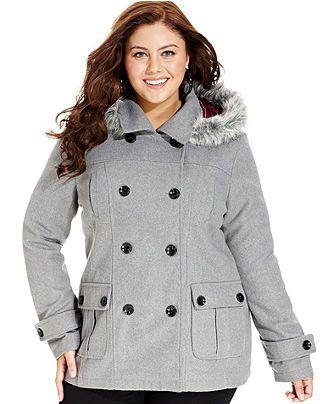 Dollhouse Plus Size Hooded Faux-Fur-Trim Pea Coat - Plus Size .