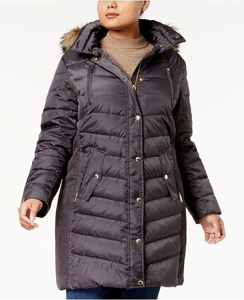 Michael Kors Plus Size Faux-Fur-Trim Down Coat, Created for Macy's .