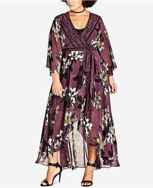 City Chic Trendy Plus Size Kimono Maxi Dress & Reviews - Dresses .