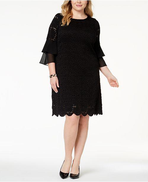 Alfani Plus Size Ruffle-Cuff Floral-Lace Dress, Created for Macy's .