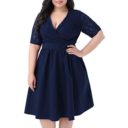 Navy Plus Size Dress: Amazon.c