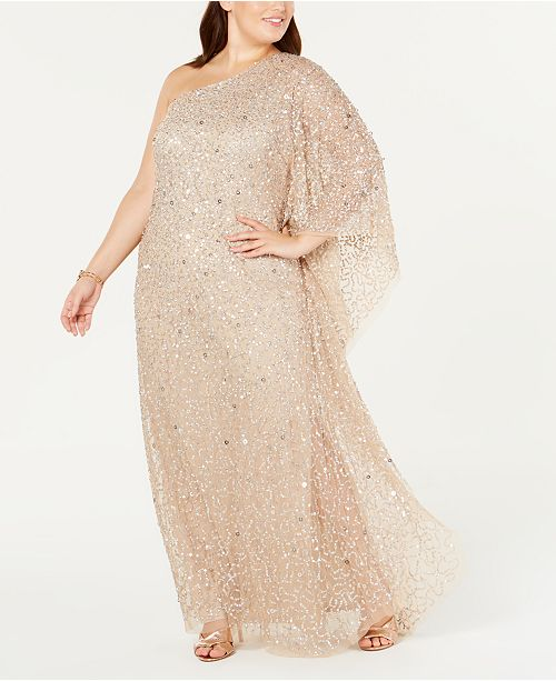 Adrianna Papell Plus Size One-Shoulder Sequin Evening Gown .