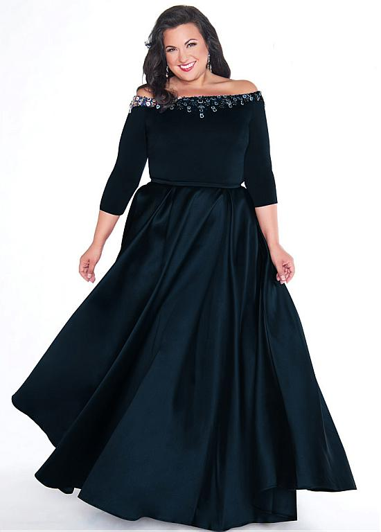 Chic Satin Off-the-shoulder Neckline Plus Size 3/4 Length Sleeves .
