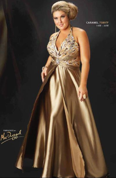 Fabulouss Plus Size Gold Foil A-Line Prom Dress by MacDuggal .