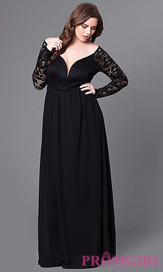 Plus-Size Long Formal Lace-Embellished Prom Dress at Pro .