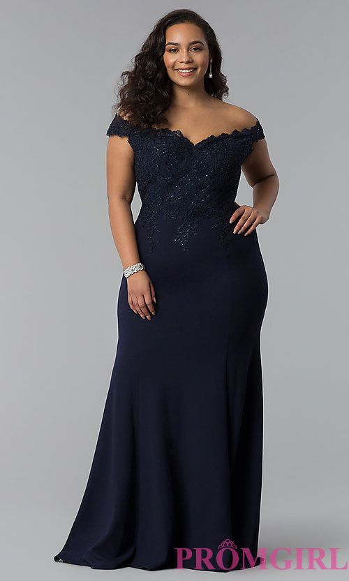 Off-Shoulder Long Plus-Size Prom Dress with Lace in 2020 | Plus .