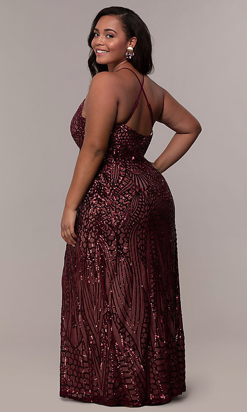 Plus-Size Sequin Art-Deco-Inspired Long Prom Dre