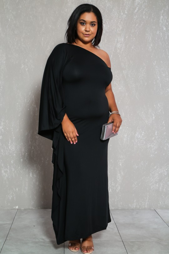 Sexy Black One Shoulder Draped Sleeve Plus Size Formal Dre