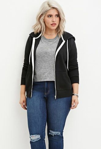Plus Size Zip-Up Hoodie | Forever 21 PLUS - 2000145647 | Plus size .