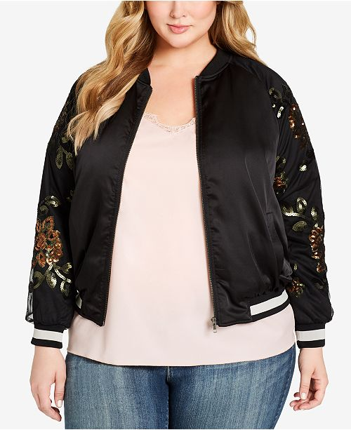 Jessica Simpson Plus Size Embroidered Bomber Jacket & Reviews .