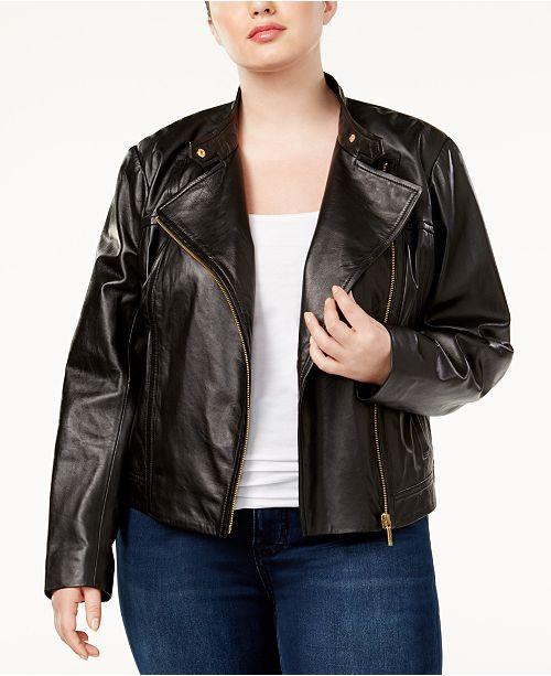 Michael Kors Plus Size Leather Moto Jacket & Reviews - Jackets .